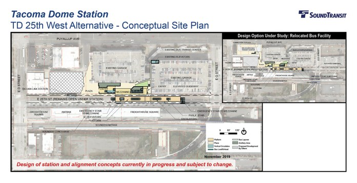 The conceptual station layout options for the Tacoma Dome Station TD 25th West Alternative. (Sound Transit)