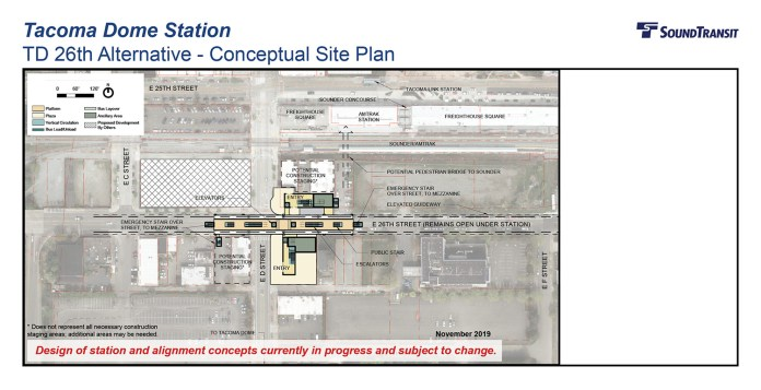 The conceptual station layout option for the Tacoma Dome Station TD 26th Alternative. (Sound Transit)