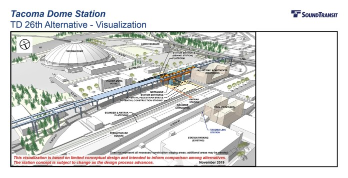 Rendering of the conceptual station layout option for the Tacoma Dome Station TD 26th Alternative. (Sound Transit)