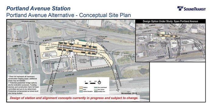 The conceptual station layout options for the Portland Avenue Station. (Sound Transit)