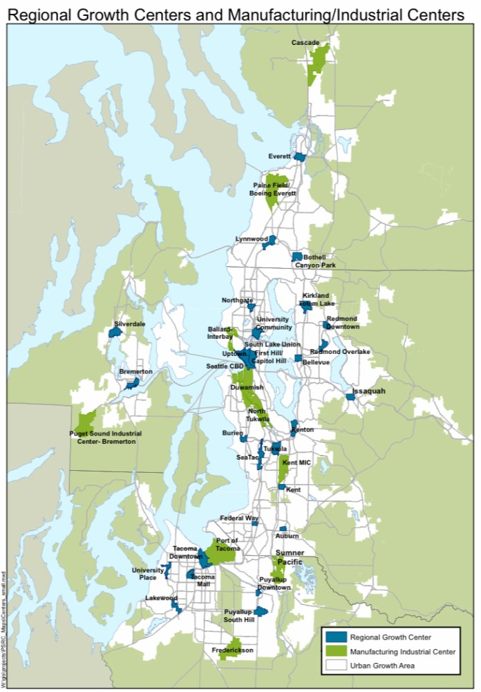 Where Regional Centers are currently designated by the Puget Sound Regional Council. (Puget Sound Regional Council)