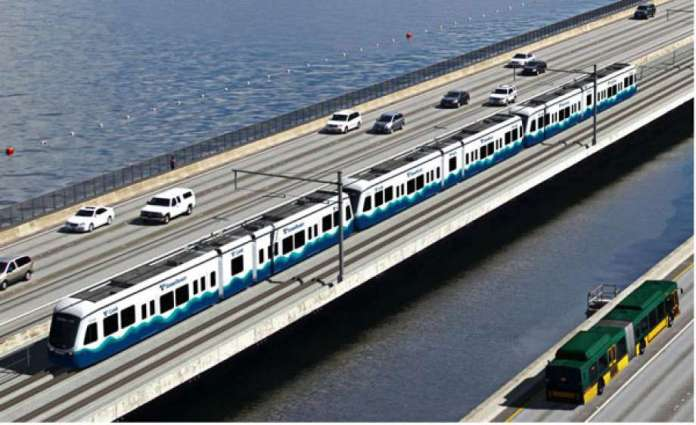 East Link runs on the I-90 floating bridge on special tracks to adjust for rocking motion. (Sound Transit)