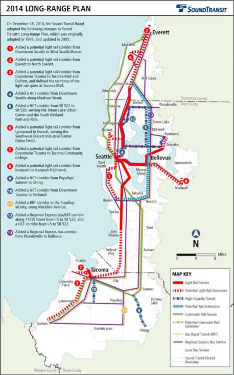 Our regional long-range plan already has the Aurora/SR-99 corridor marked as a single bus rapid transit corridor. (Credit: Sound Transit)