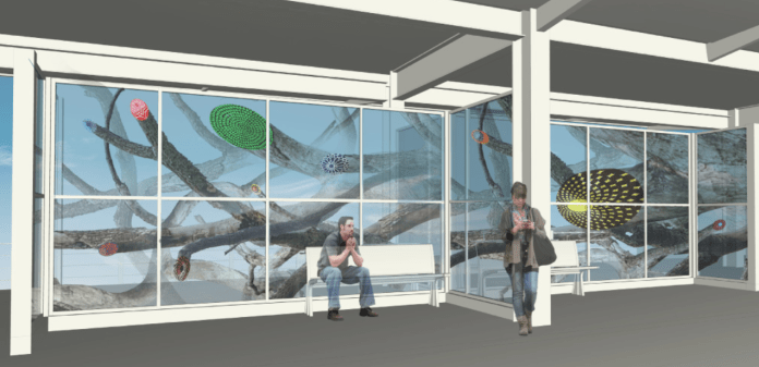 A rendering of the conceptual station platform artwork by the RE:site Studio duo Norman Lee and Shane Allbritton. (Sound Transit)