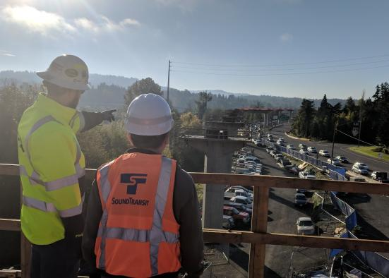 """From November 2018: """"Looking south from the platform at the South Bellevue Station. Note the columns where the train guideway will rise above traffic on Bellevue Way Southeast."""" (Sound Transit)"""