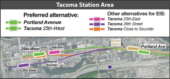The conceptual alignment and station locations for the Portland Avenue and Tacoma Dome Stations. (Sound Transit)
