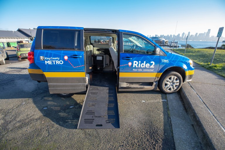 Ride2 vans were re-purposed from Metro's fleet and may go back to other services. Some include wheelchair ramps as shown. (King County Metro)