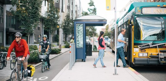 A floating bus stop and protected bike lane on Dexter Avenue. (Photo by Adam Coppola)