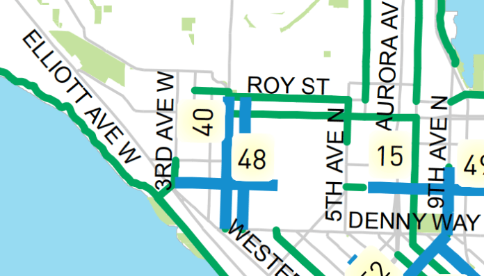 Planned bike facilities through 2024 (blue) as shown on the bicycle master plan's implementation schedule (City of Seattle)