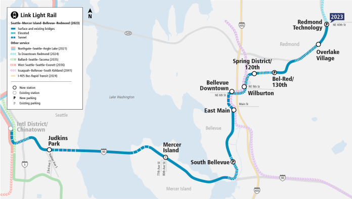 Link Light Rail diagram emphasizing the East Link line and stations in relation to existing and future light rail lines. (Sound Transit)