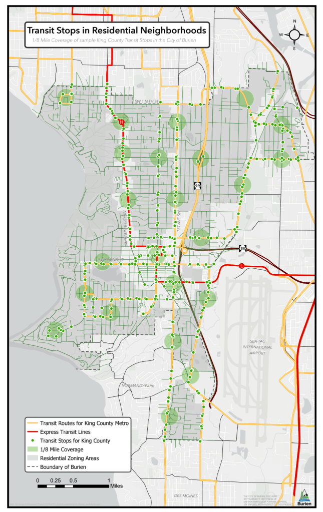 A snapshot of transit stops in Burien, single-family zones, and areas one-eighth of a mile from select transit stops. The regulatory changes provide parking exceptions within one-quarter of a mile from transit stops. (City of Burien)
