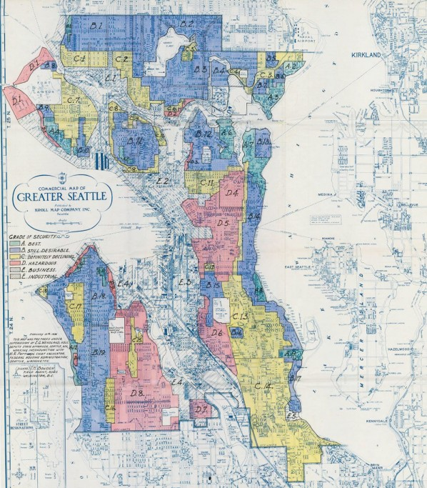 A 1936 redlining map shows the Central Area, Delridge, and Georgetown redlined, while the Rainier Valley, Junction, and lower Ballard and Fremont are in yellow indicating less desirable and worsening areas for banks to make loans.