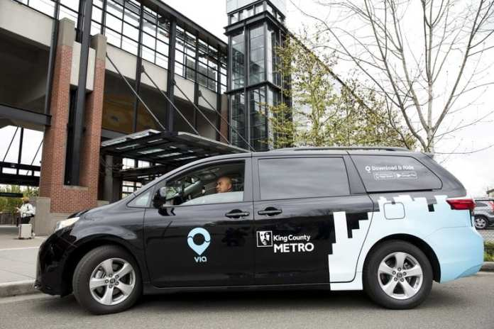Via to Transit is a Metro partnership with ridehailing operator Via providing on-demand rides to Southeast Link stations. (Credit: King County Metro)