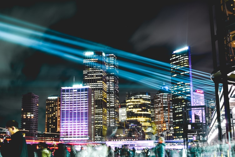 Sydney, Australia during Vivid Lights festival. (Photo by Hugh Han on Unsplash)