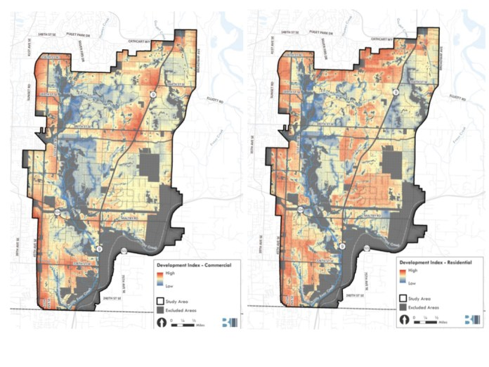 Development Index heat maps showing the areas most appropriate (red) and least appropriate (blue) for commercial and residential development. (Snohomish County)