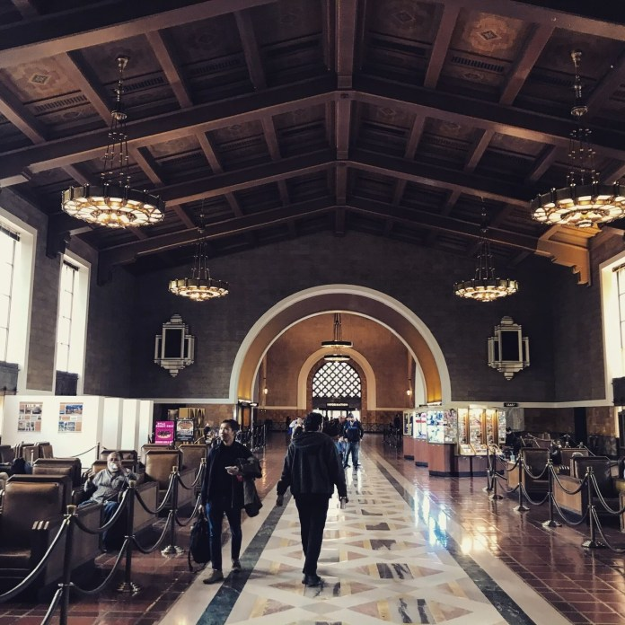 The waiting hall at Los Angeles Union Station.