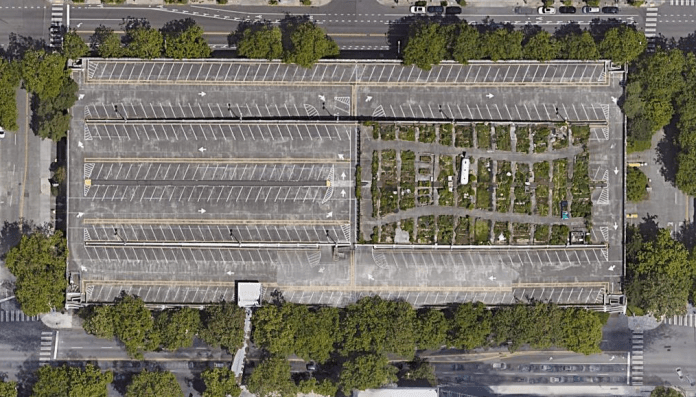 The Mercer garage occupies two entire blocks north of the Seattle Center, with a catwalk over Mercer Street. (Google Maps)