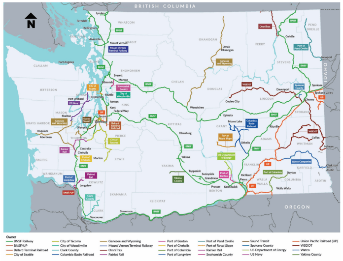 A map of railway ownership throughout Washington. (WSDOT)