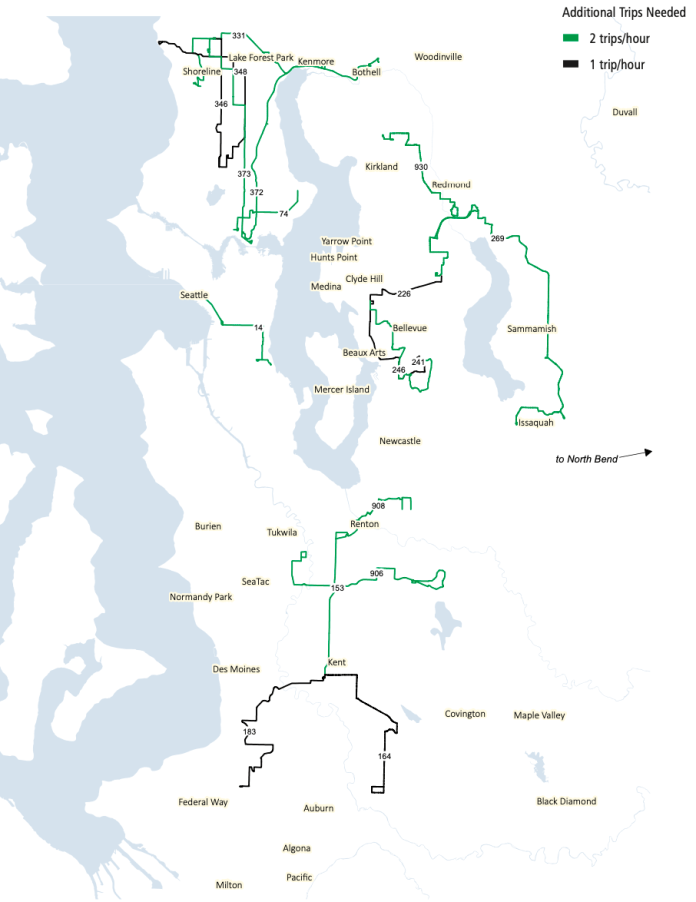 Corridors that need more nightime service (after 7pm) for ridership growth. (King County)