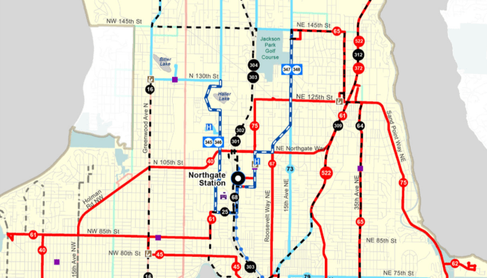 The new Route 61 may be the most dramatic change with a new Loyal Heights to Lake City crosstown route. Shoreline routes mostly head to Northgate Station. (King County Metro)