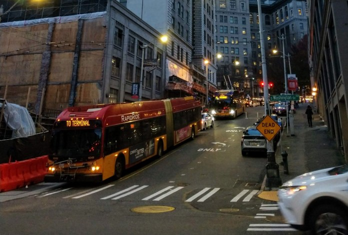 A RapidRide bus in the International District. (Photo by Doug Trumm)