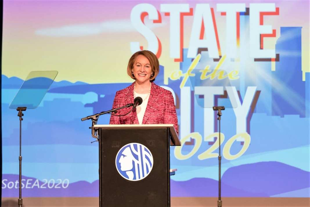 Mayor Durkan delivers her state of the city speech at Rainier Arts Center. (Credit: Seattle Channel)
