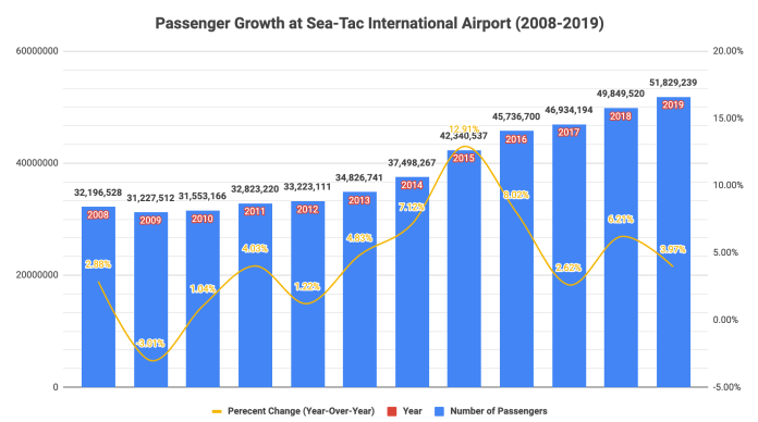 Passenger growth was modest at Sea-Tac International Airport in 2019, leading to more than 50 million passengers in a single year.