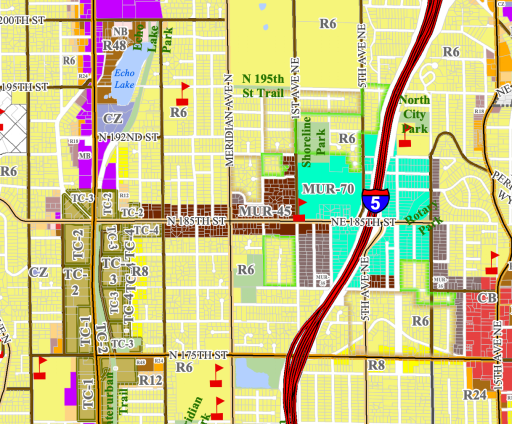 Local zoning map for Shoreline. Brown is 45-foot height limit mixed use zoning and is focused on N 185th St. Sea green is 70-foot height limit mixed use zoning and is clustered around I-6 and NE 185th St. Grey is 35-foot height limit mixed use zoning. SR-99 has a mix of multifamily and commercial zoning, and and yellow is single-family zoning. (Shoreline)