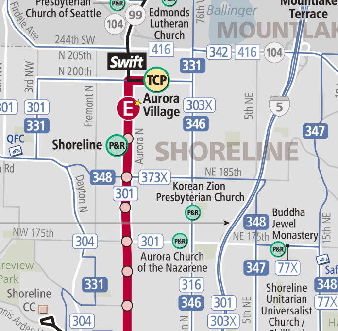 The local bus route network for the Shoreline area. (King County)