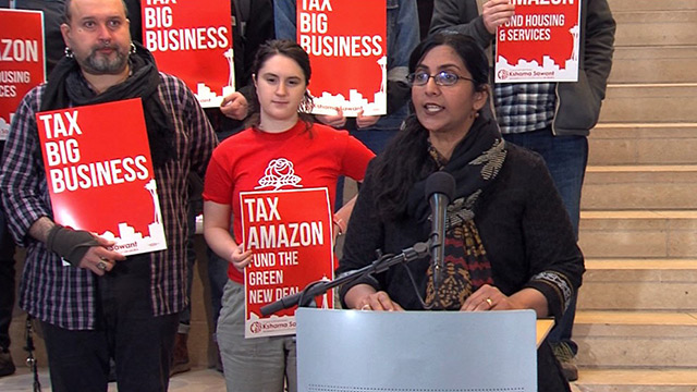 Councilmember Sawant announces business tax at City Hall.  (Seattle Channel)