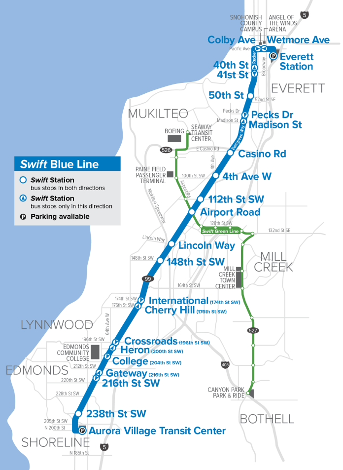 The existing Swift lines in operation with stop locations. (Community Transit)