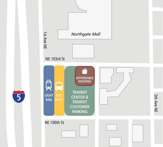 Northgate Station will open in 2021, while TOD on public land will have to wait a few years after that. (King County Metro)