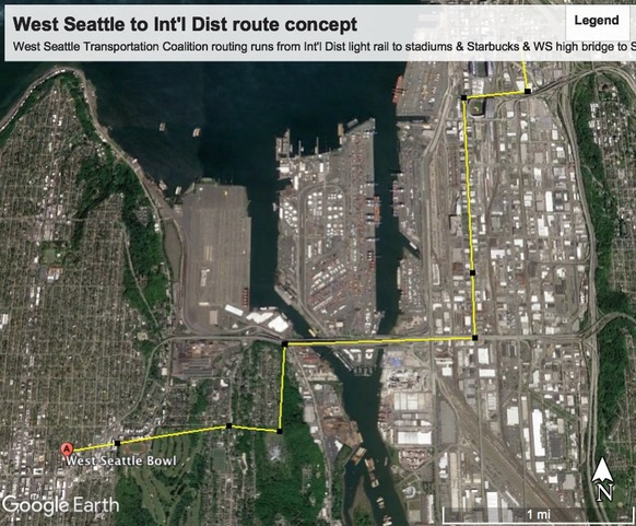 Aerial tram concept for West Seattle transit line. (Credit: West Seattle Transportation Commission)