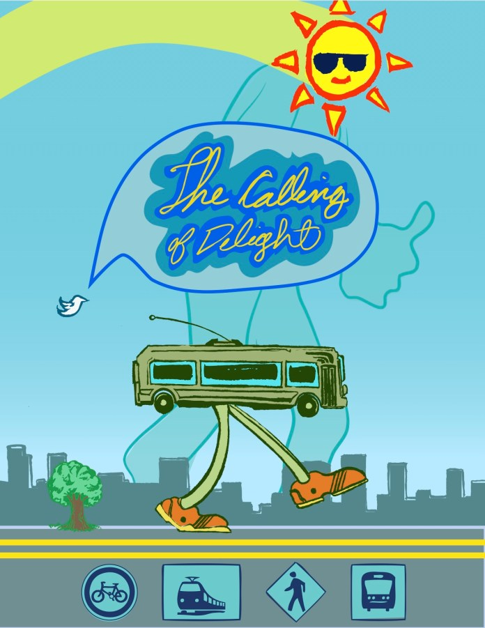 """""""The Call of the Delights"""" graphic uses a cartoon bus with legs. (Reed Olson)"""