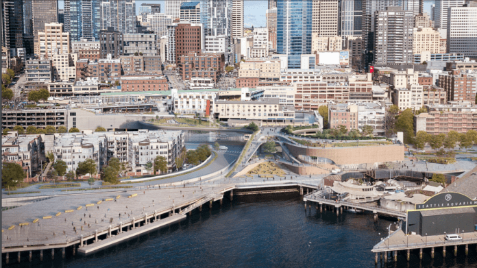 Rendering of waterfront with new Overlook Walk, pedestrian bridge, and Ocean Pavilion. Skyline in the background. (City of Seattle)