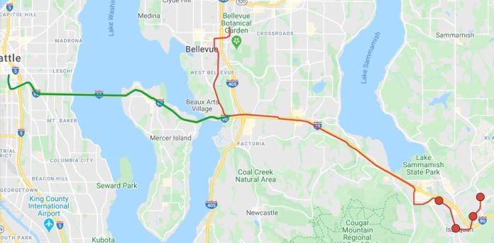 Building a three-way interchange at the Mercer Slough could routes to both Seattle and Bellevue. (Google Maps, edits by Hyra Zhang)