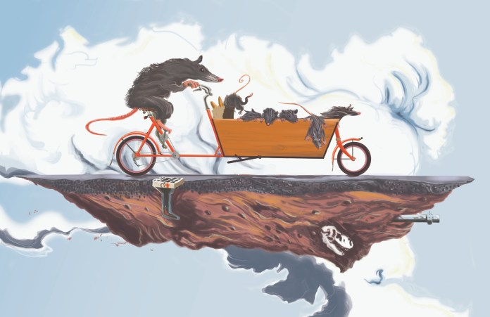 """""""Family Ride"""" shows a cargo bike with a family of rats in a surreal environment reminiscent of Salvador Dali paintings. (Reed Olson)"""