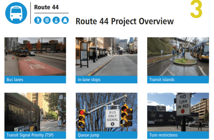 SDOT is highlighting bus lanes and priority in its Route 44 project materials. (SDOT)