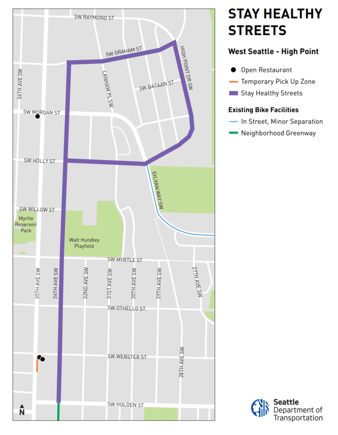 The route in High Point primarily uses 34th Ave SW, SW Graham St, and High Point Dr SW. (SDOT)