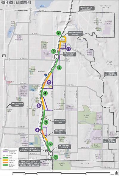 Preferred alignment of the non-motorized trail along the light rail corridor in Shoreline. (City of Shoreline)