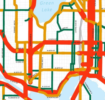 SDOT arterial classification, orange is a minor arterial. (City of Seattle)