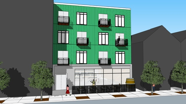Residential units over ground level industrial use, in this case the chaperone use of a brewery taproom connected to the brewing facility behind. The structure can fit near most neighborhood apartment buildings as well as single-family quad townhomes. (Illustration by Ace Houston, AIA at House Cosmopolitan.)