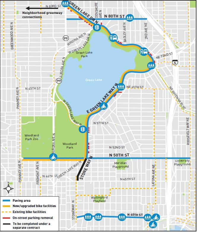 SDOT's repaving project will improve biking options and update sidewalks. (SDOT)