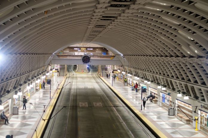 Light rail tunneled station in Downtown Seattle. (Photo by Gary Matoso / Futurewise)