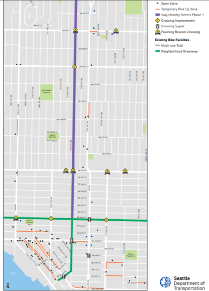 Bigger sized map of the Ballard Stay Healthy Streets corridor. (City of Seattle)