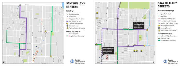 Stay Healthy Streets network in Lake City and Aurora-Licton Springs. Solid purple lines are new Stay Healthy Streets, dashed purples lines are existing Stay Healthy Streets, green lines are existing Neighborhood Greenways, and orange lines are temporary pickup zones. (City of Seattle)