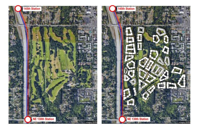 Graphic by Ryan DiRaimo showing Barcelona style apartment block layout for the golf course..