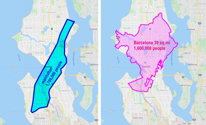 Seattle isn't a small town, we are just planned and zoned like one. Seattle has plenty of space for dense housing growth to accommodate the current population trends (Images to scale by the author)