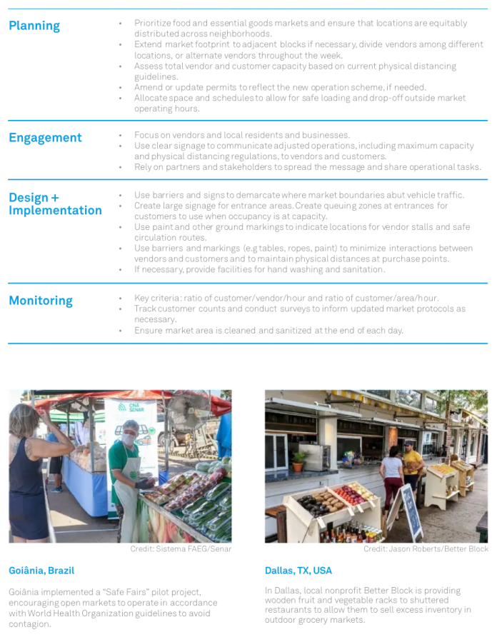 High level guidance for cities to consider in launching in-street markets. (NACTO)