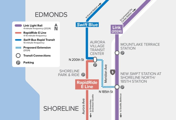 Schematic of the planned Swift Blue Line extension and integration with RapidRide and Link. (Community Transit)
